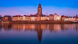 View of Deventer and its reflection in the River IJssel during bluehour.