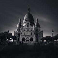 The Sacré-Cœur in Montmartre, Paris. In search of 'Rasa' (Joel Tjintjelaar) Tags: sacrécœur montmartre paris france longexposurearchitecture canon24mmtiltshift rasa blackandwhite bw splittoning ghosting