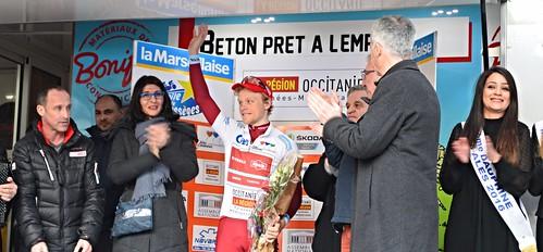 Mads Würtz SCHMIDT (Katuska-Alpecin) 1er au classement des jeunes, entouré de Luc LEBLANC, Max ROUSTAN, Christophe RIVENCQ, Fabrice VERDIER