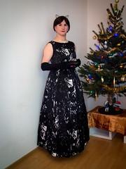 Happy New Year! (blackietv) Tags: black white dress gown gloves formal party christmas tree tgirl transvestite crossdresser crossdressing transgender
