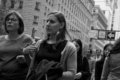montgomery & post (edwardpalmquist) Tags: sanfrancisco california city street urban people woman crowd jewelry architecture building blackandwhite monochrome earrings necklace outdoors