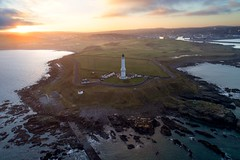 Sunset over Girdle Ness and Aberdeen (iancowe) Tags: girdle ness lighthouse girdleness torry coo sunset aberdeen nigg harbour north sea evening stevenson scotland scottish drone dji djiphantom4 pro aerial nlb northernlighthouseboard