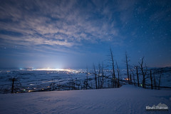 Sheridan Glow (kevin-palmer) Tags: bighorn sheridan bighornnationalforest bighornmountains january winter snow snowy evening irix15mmf24 blue sky night stars starry astronomy astrophotography snowshoeing clouds burnt trees lights lightpollution nikond750