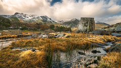 Rock solid (Einir Wyn) Tags: landscape light love lake life me breathtaking sky passion plants foliage mountains outdoor frost snow winter ogwen wales uk water stream river rural enjoy nikon colour color colourful neige tranquil isolate air clouds blue green white sigma orange