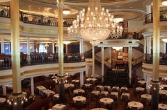 MacBeth Dining Room (PelicanPete) Tags: macbethdiningroom cruiseship chandelier porteverglades 3story busycruiseportmecca fortlauderdaleflorida stage concert music people musician fun performer professionals legends classicrock rocklegendscruisev january19th23rd2017 fifthannual rockcruise independenceoftheseas benefitnativeamericans royalcaribbeancruiseline vehicle ship indoor waterfront water boat architecture columns staircase lights big elegant royal spacious impressive balcony rail tables doublestaircase