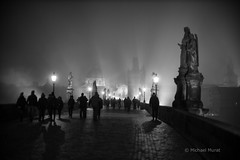 Shadows in the Mist (michael.mu) Tags: leica m240 50mm leicanoctiluxm50mmf095asph noctilux prague praha czech night fog mist blackandwhite bw monochrome silverefexpro streetphotography shadow backlight
