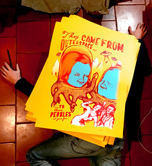 They Came from Outer Space... (arnus horribilis) Tags: screenprint silkscreen poster affiche madseries serigraphie print ufo flyingsaucer cow terror arnus illustration lowbrow art popsurrealism lol joke children mountain outerspace human beings vintage drawing 50s fear