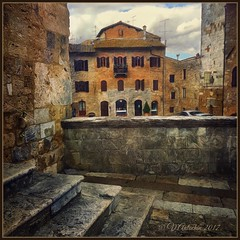 Old San Gimignano. (odinvadim) Tags: mytravelgram paintfx textured textures iphone editmaster travel iphoneography sunset evening iphoneonly church painterly artist snapseed landscape photofx specialist iphoneart graphic painterlymobileart
