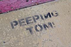 Peeping Tom!, Los Angeles, CA (Robby Virus) Tags: losangeles california la ca peeping tom graffiti stencil sidewalk cement concrete pavement paint