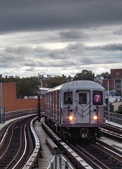 IMG_6083_4_5_6_8_tonemapped (Sebastian Sinisterra Photography) Tags: new york city nyc white 3 black train outside outdoors cloudy outdoor manhattan tracks 7 queens telephoto short mta tele express local hdr bnw flushing nyct