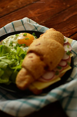 _DSC4275 (evgenia-kis) Tags: food cheese breakfast salad tasty eggs croissant yolk woodtable