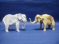 Elephants! (shuki.kato) Tags: elephant paper asian mammal origami african pachyderm fold kato shuki