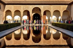 Court of the Myrtles (Patio de los Arrayanes), Alhambra (2) (Apostolis Giontzis) Tags: espaa distortion reflection water pool architecture court pond andaluca spain nikon outdoor palace arabic patio alhambra moorish granada andalusia casareal arrayanes myrtles birka patiodelosarrayanes courtofthemyrtles patiodelaalberca moorishart palacioarabe d800e nikond800e courtoftheblessing courtofthepond patioofthepondor
