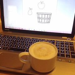 "This morning, I am working on the drawings for the next batch of fabrics, recipe cards, and greeting cards. Bushel baskets, apples, pears, and pumpkins will all be doing their part to help celebrate the season.   I am hoping that this cappuccino will help • <a style=""font-size:0.8em;"" href=""http://www.flickr.com/photos/54958436@N05/21781284468/"" target=""_blank"">View on Flickr</a>"