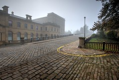early morning fog at saltaire, west yorkshire, england (haywardk49) Tags: road england sky people mist heritage mill lamp fog fence canal nikon village hill transport victorian wideangle visit cobble lampost d750 20mm textiles fullframe f18 saltaire westyorkshire riveraire listedbuilding leedsandliverpool 20mmf18 bradfordmetropolitandistrict