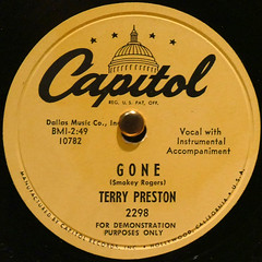 TERRY PRESTON - GONE (Leo Reynolds) Tags: xleol30x squaredcircle record single vinyl platter disc panasonic lumix fz1000 sqset124 xx2015xx sqset