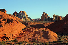 Sandstone Flow, Valley of Fire, Nevada (Bob Palin) Tags: sunset usa southwest rock 1025fav 510fav canon landscape outdoors sandstone desert nevada bluesky 100v10f potofgold 100vistas instantfave canonef24105mmf4lisusm valeyoffire ashotadayorso goldstaraward orig:file=2015030900559