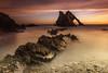 Bow Fiddle Glow (Pureo) Tags: bowfiddle rock scotland cullen moray morayfirth sea sunrise longexposure le leefilters pebbles sand seascape canon