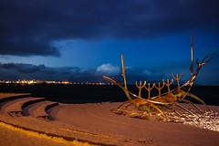 Reykyavik - sunset (cromgrze) Tags: iceland viking ship sculpture reykyavik art outdoor sunset snow cloud