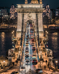 Traffic in Chain bridge (Vagelis Pikoulas) Tags: budapest buda pest hungary europe travel photography canon 6d tamron 70200mm vc cars traffic lights bridge chains danube river november blue hour 2016 autumn night