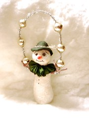 spun cotton snowman (jejemae) Tags: spuncotton christmas ornament handmade antiquestyle artdolls cottonbatting decoration etsy feathertree folkart german holidays jejemae madeintheusa figures kitsch vintage whimsical snowman
