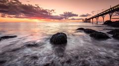 Rushing Tide (~g@ry~ (clevedon-clarks)) Tags: clevedon clevedonpier sunset longexposure northsomerset somerset victorianpier pier uk england coast coastal bristolchannel severn mistyrocks mistypebbles outdoor