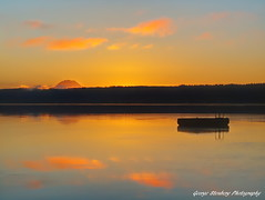 Here Comes the Sun (George Stenberg Photography) Tags: washingtonstate pacificnorthwest hoodcanal dawn sunrise raft clouds reflection mtrainier