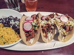 Three tacos (melastmohican) Tags: sauce authentic yellow chili food fresh tomato cabbage snack beef dish cilantro three plate meat green lime corn onion radish delicious pork taco dinner spicy lunch tortilla salsa meal carnitas vegetables mexican sedona arizona unitedstates us