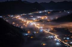 City of Lights [Explored] (eggysayoga) Tags: nikon d7000 sigma 70200mm 70200 dg os city cityscape landscape light village fog mist night pinggan kintamani bali indonesia asia tele trail long exposure ss le
