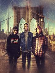 Brooklyn Bridge Boys (gimmeocean) Tags: brooklynbridge manhhatan newyorkcity nyc newyork ny snapseed iphoneography iphonenography 1wtc sliderssunday hss freedomtower