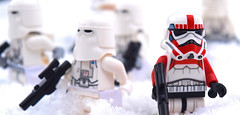 Out in the Snow (RagingPorygon) Tags: lego snowtrooper shock trooper stormtrooper star wars snow outside photography freezing hoth blasters