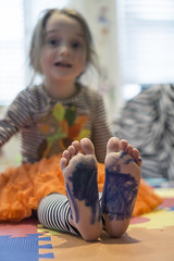 Luna Day 1215 (evaxebra) Tags: luna feet colored marker mess messy toes piggies funny hilarious comical silly