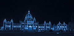 Happy New Year! (ArrynBlue) Tags: night architecture city building britishcolumbia canada victoria bcparliamentbuilding parliament blue