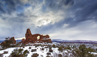 Turret Arch in Snow, Arches National Park