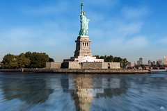 Statue of Liberty (Domi Art Photography) Tags: usa newyork ny nyc manhattan liberty island libertyisland hudsonriver hudson river reflection reflections people monument architecture architectural landscape dreamscape sky clouds longexposure america