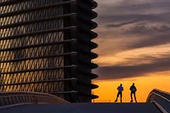 Patinando al atardecer junto a la torre del agua (.MiguelPU) Tags: expo torre spain españa arquitectura rascacielos edificio aire libre fotos hora azul atardece color anochece noche blue hour sky aragon 2008 zaragoza nikon nikonespaña nikonistas d5200 tamron 16300 cielo sunset naranja orange