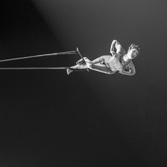 ataraxia (Super G) Tags: nikon297 woman rope hanging flying graceful elegant powerful bw blackandwhite