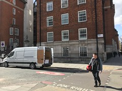 Harley Street. London (Paul.Bevan) Tags: mercedesbenz dodge sprinter van whitevan delivery transport lighthaulage expressdelivery courier lwb cargoarea harleystreet london famouslondonstreet medical fitzrovia pedestrian manwalking crossingtheroad tallbuildings lookright georgianwindows edwardian unloading reardoorsopen brabus