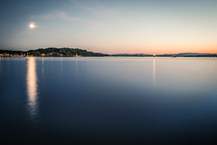 Moonlit Oslofjord (einaros) Tags: ocean travel sunset sea moon reflection water oslo norway clouds long exposure moonlit moonlight fjord oslofjord oslofjorden visitnorway visitoslo
