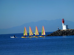 P1020732 (rogerpage_mx) Tags: sea sun lighthouse france mountains fisherman yacht argeles