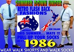 summer down under  walk socks  1986 (80s Muslc Rocks) Tags: 1980s 1970s 80s 80smensfashion 70s 70smensfashion socks summer sockssoxwalkingshortsfashion1970s1980smensmensocksummer sox sommer kiwi kneesocks kiwiana kiwifashion knees nelson newzealand nz newzealandwalkshorts northisland auckland abovethekneeshorts ashburton abovetheknee australia aussie tauraga oldschool old oz longsocks longwalksocks legs long bermudashorts bermudasocks menswear mensshorts mens retro rotorua revival tubesocks flashback downunder sydney melbourne brisbane fashion flag ad advert walkers wellington walkingsocks dunedin dressshorts darwin pullupyoursocks polyesterwalkshorts 11 2015 2016 worldfamousinnewzealand outback mate invercargill shortshorts mensshortshorts 2017 words text