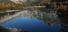 Derborence (bulbocode909) Tags: nature jaune automne eau suisse bleu arbres lacs reflets valais montagnes mélèzes derborence forêts