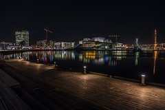 Oslo Opera house and Barcode (cpphotofinish) Tags: ocean blue autumn light sky urban panorama color colour reflection fall water weather yellow oslo norway night clouds canon outside eos bay norge photo reflex opera foto nightshot image outdoor mark tourist panoramic norwegian nightlight fjord nordic usm dslr scandinavia bilder vann oslofjord bluelight kaia oslofjorden høst bilde norske farger mk3 turist osloharbour canonef ef24105mmf4lisusm visitnorway oslooperahouse havnelageret carstenpedersen canonmkiii mklll oslohavnelager eos5dmk3 oslobay cpphotofinish canonredlable dslroslofjordfjord