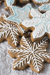 Gingerbread cookies (Modern Taste) Tags: snowflake christmas xmas winter holiday cookies festive season ginger traditional decoration gingerbread biscuit homemade gift icing royalicing