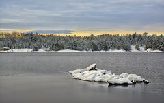Starting to Freeze (Lindaw9) Tags: shanty bay frenchriverdistrict treeline light sky colours rock snow ice water lake northern ontario
