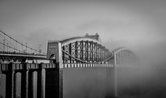 The Crossing (Robgreen13) Tags: rivertamar royalalbertbridge tamarbridge misty foggy railway firstgreatwestern plymouth saltash devon cornwall mono bridge bw structure ikbrunel