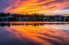 Placid Sky (dxd379) Tags: lakeplacid adirondacks ny newyork newyorkstate lake sunset reflection skyonfire orangesky nikon d7100 mirrorlake clouds