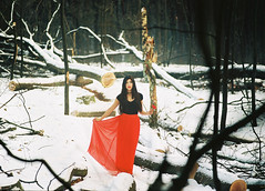 000005ks (Rei La Roca) Tags: snow wood forest sunshine sunray light red black portrait mamiya 645 120 cute fashion mood white green rose choker alternative lovely skirt dress simple clean tree trees filmisnotdead film shootfilm 210mm 645pro portra 400 iso400 portra400 mediumformat