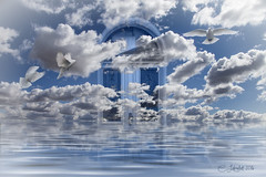 SurrealDoor (clabudak) Tags: selectivecolor blackwhite door clouds doves birds water surreal platinumheartaward ruby3 ruby10