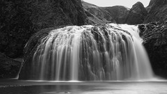 the icing on the cake of Icelandic waterfalls ;) (lunaryuna) Tags: iceland southiceland kirkjujabaerklaustur systrastapi systrafoss waterfall mountains landscape spring season seasonalwonders le longexposure lunaryuna blackwhite bw monochrome